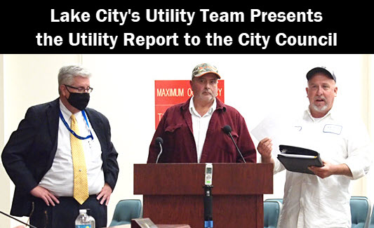 Photo of the Lake City Utility Presentation Team. Left to right are Dan Sweat, Paul Dyal, and Mike Osborne.