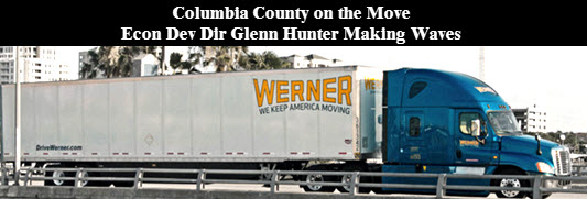 "Graphic showing a Werner ""We Keep America Moving"" tractor-trailer"