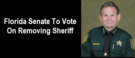Scott Israel with text: Florida Senate To Vote On Removing Sheriff