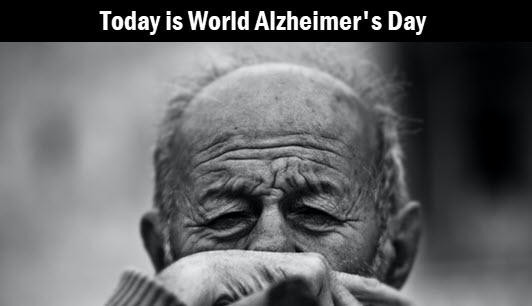 Photo of elderly man. Headline: Today is World Alzheimer's Day