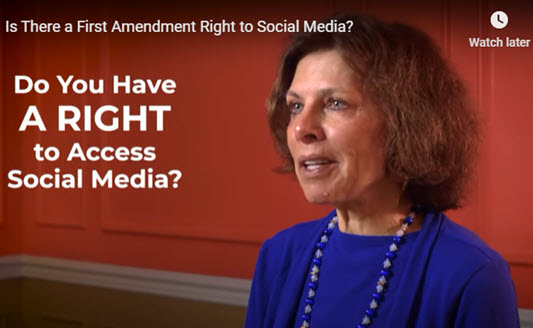Image of Nadine Strossen from her Talk on Law video about Social Media Companies and application of the First Amendment